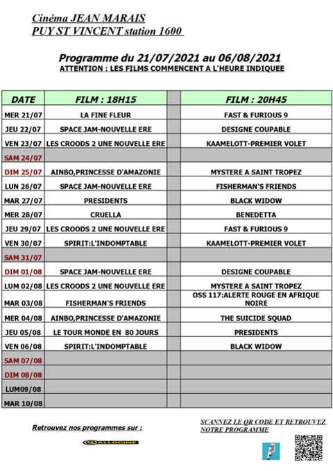 Programme cinéma de Puy Saint Vincent du 21 juillet au 06 août 2021