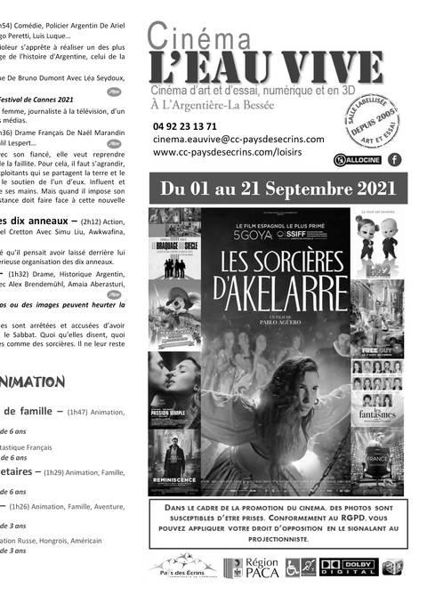 Programme cinéma L'Eau Vive du 01 au 21 septembre 2021