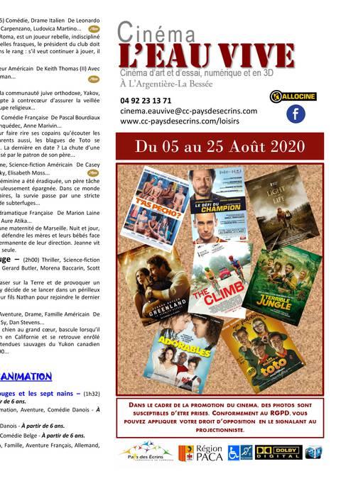 Programme cinéma L'Eau Vive du 05 au 25 août 2020