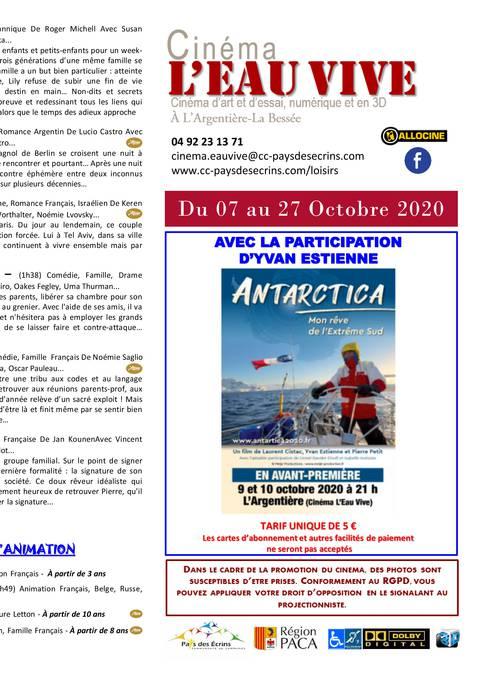 Programme cinéma L'Eau Vive du 07 au 27 octobre 2020