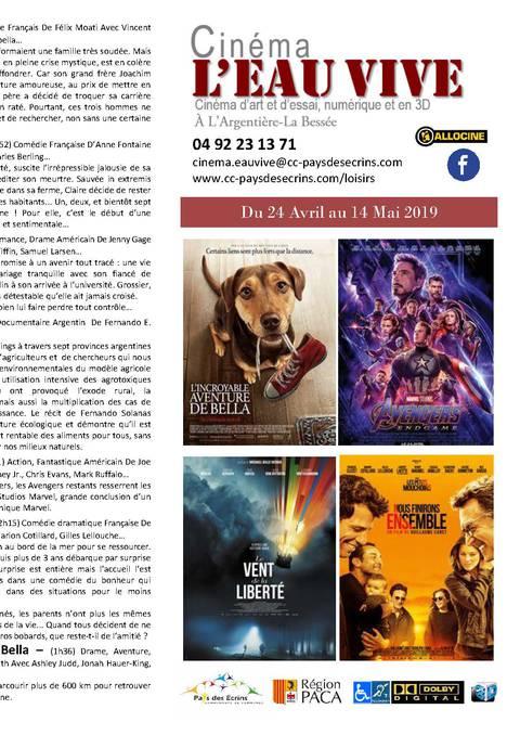 Programme du cinéma l'Eau Vive