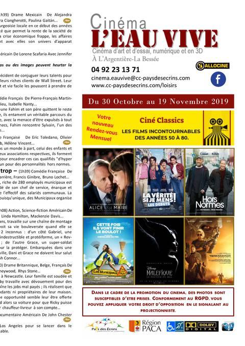 Programme cinéma Eau Vive
