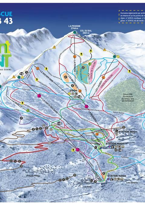 Plan des pistes de Puy Saint Vincent