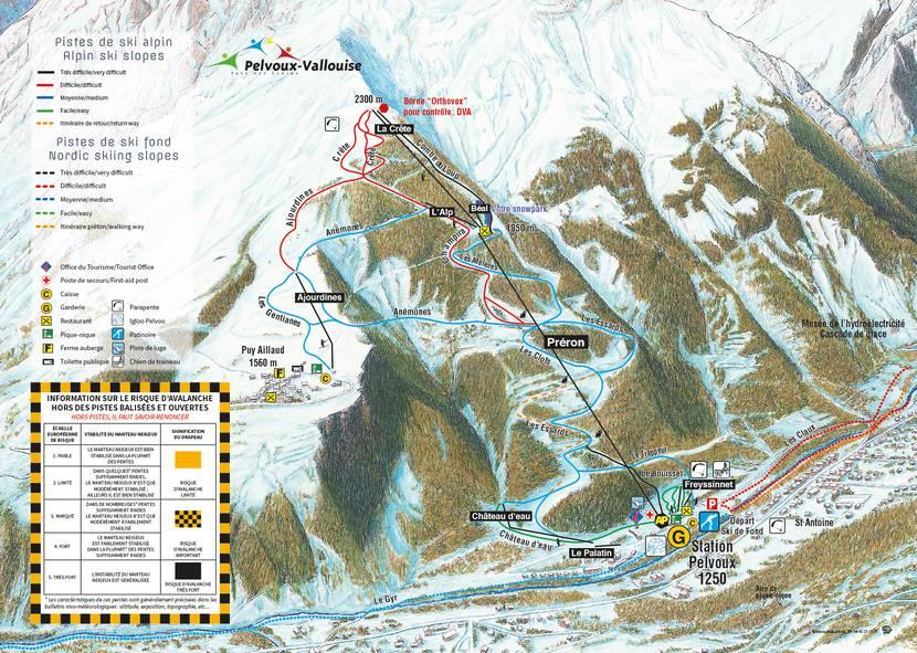 Plan des pistes de Pelvoux-Vallouise